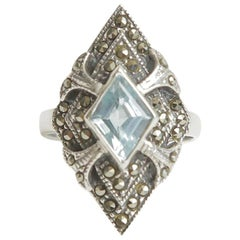 Sterling Silver Blue Topaz and Marquisette Art Deco Ring