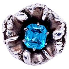 Sterling Silver Blue Zircon Flower Ring