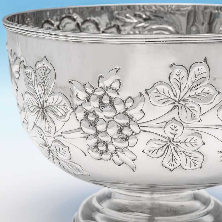 English 19th Century Victorian Ornate Chased Antique Sterling Silver Bowl For Sale