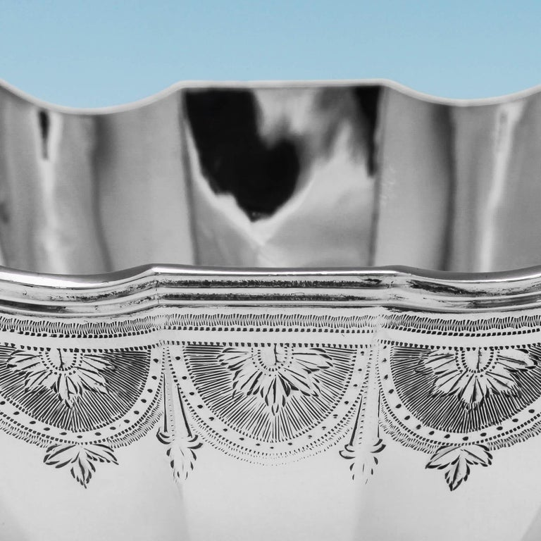 19th Century Victorian Engraved Sterling Silver Bowl by Savoury & Sons In Good Condition For Sale In London, London