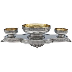 Roman Frieze Detailed Antique Victorian Sterling Silver Table Centrepiece