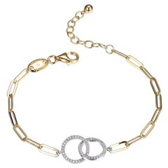 Sterling Silver Bracelet Paperclip Chain (3mm) 2 CZ Circles, Yellow Gold Finish