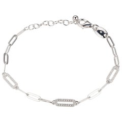 Sterling Silver Bracelet Paperclip Chain (3mm) 3 CZ Link, Rhodium Finish