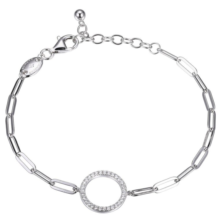 Sterling Silver Bracelet Paperclip Chain (3mm) CZ Circle (15mm), Rhodium Finish For Sale