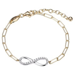 Sterling Silver Bracelet Paperclip Chain (3mm) CZ Infinity, Yellow Gold Finish