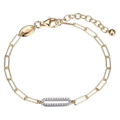 Sterling Silver Bracelet Paperclip Chain (3mm) CZ Link, Yellow Gold Finish