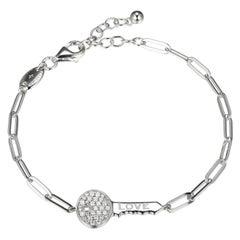 Sterling Silver Bracelet Paperclip Chain (3mm) CZ Love Key, Rhodium Finish