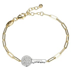 Sterling Silver Bracelet Paperclip Chain (3mm) CZ Love Key, Yellow Gold Finish