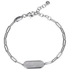 Sterling Silver Bracelet Paperclip Chain (3mm) Pave CZ Motif, Rhodium Finish