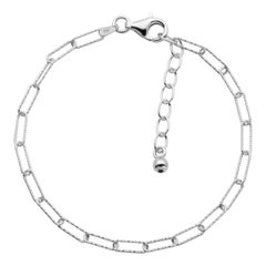 Sterling Silver Bracelet Paperclip Chain (3mm), Rhodium Finish
