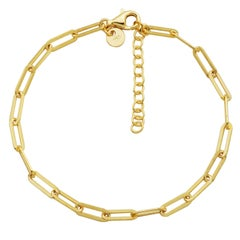 Sterling Silver Bracelet Paperclip Chain (3mm), Yellow Gold Finish
