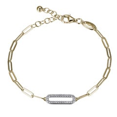 Sterling Silver Bracelet Paperclip Chain, CZ Link, Yellow Gold Finish