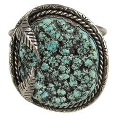 Sterling Silver Bracelet Sea Foam Turquoise Handcrafted cuff bracelet Navajo
