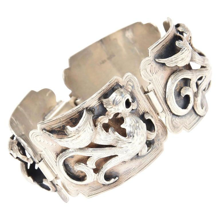Sterling Silver Bracelet Signed Vintage For Sale