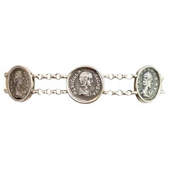 Sterling Silver Bracelet with 5 Roman Coins Depicting 5 Important Roman Woman