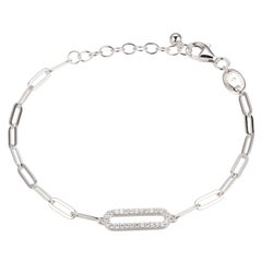Sterling Silver Bracelets Paperclip Chain (3mm) CZ Link, Rhodium Finish