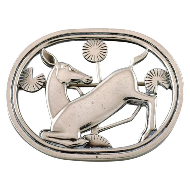 Sterling Silver Brooch by Georg Jensen, Design Number 256, Deer Motif For Sale