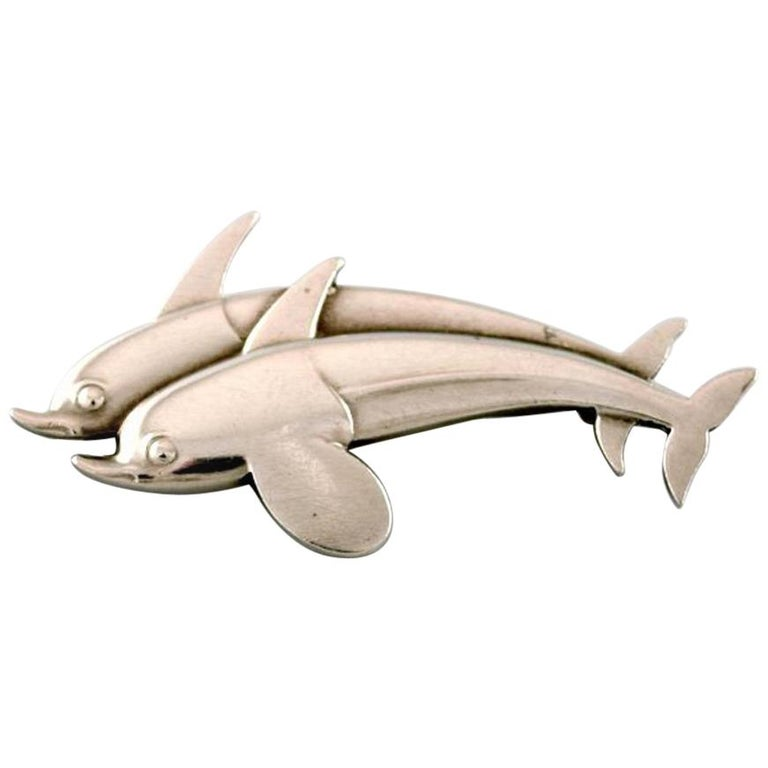 Sterling Silver Brooch by Georg Jensen, Design Number 311, Two Dolphins For Sale