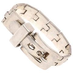 Sterling Silver Buckle Bracelet Signed Vintage