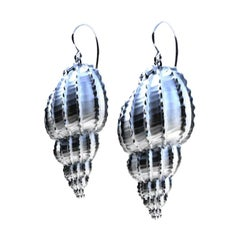 Sterling Silver Bulbous Shell Earrings