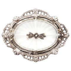 Sterling Silver Camphor Glass Diamond Pin or Brooch