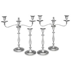 Gorge III Antique Sterling Silver Candelabra and Candlestick Suite from 1795