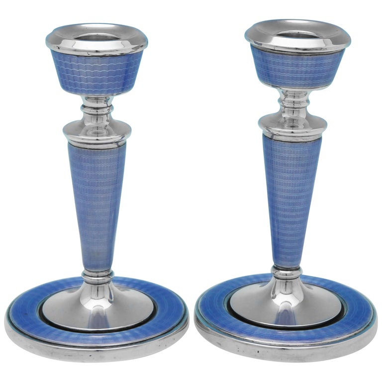 Art Deco Period Enamelled Sterling Silver Candlesticks from 1929 by A.L Dennison For Sale