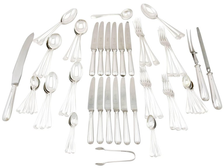 An exceptional, fine and impressive vintage Elizabeth II English sterling silver flatware service for six persons by Garrard & Co Ltd - boxed; an addition to our canteen of cutlery collection.  The pieces of this impressive, vintage sterling silver