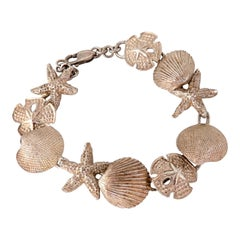 Sterling Silver Caribbean Charms Bracelet Sea Shells and Star Fish