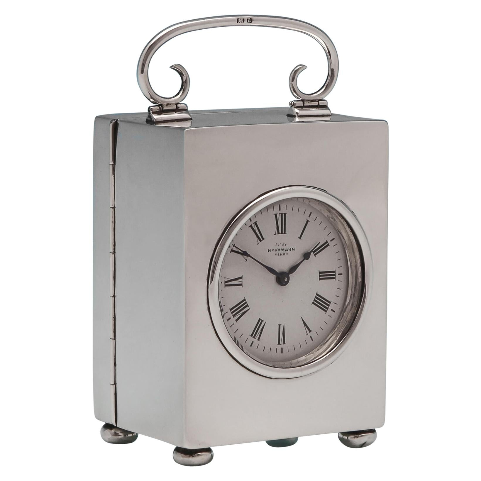 Victorian Sterling Silver Carriage Clock With French Movement Made in 1900