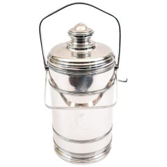 Sterling Silver Cartier Covered Ice Bucket with Two Handles