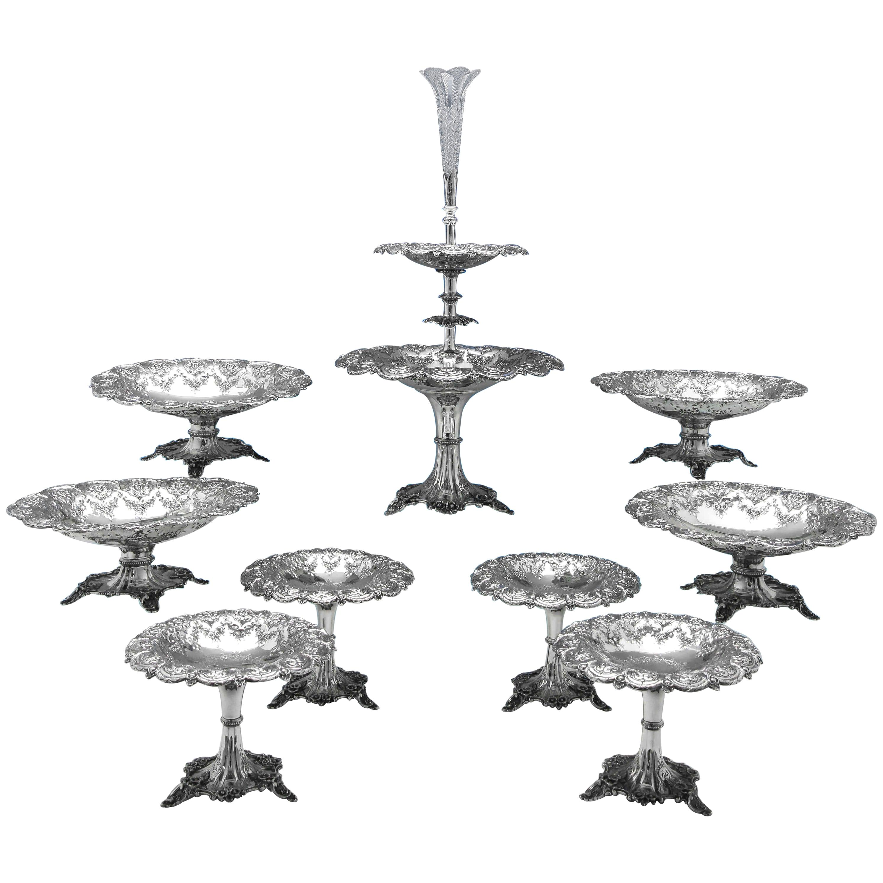 Decorative Victorian Antique Sterling Silver Centrepiece and Suite of 8 Dishes