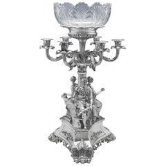 Mythological Greek Revival Victorian Antique Sterling Silver Centrepiece