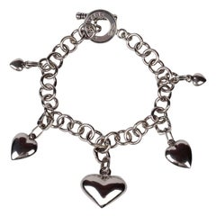 Sterling silver chain and heart charms bracelet by Giovanni Raspini