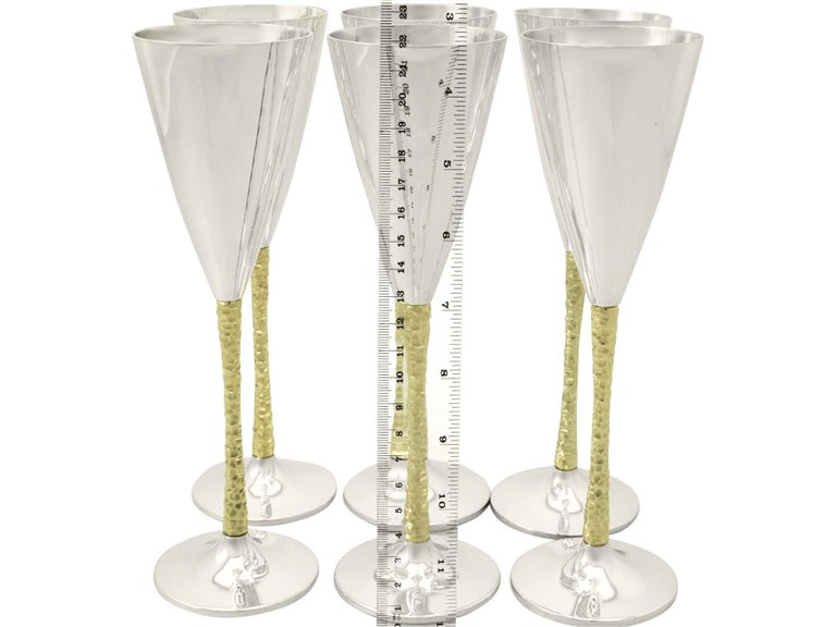 Sterling Silver Champagne Flutes Set of Six For Sale 4
