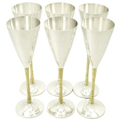 Sterling Silver Champagne Flutes Set of Six