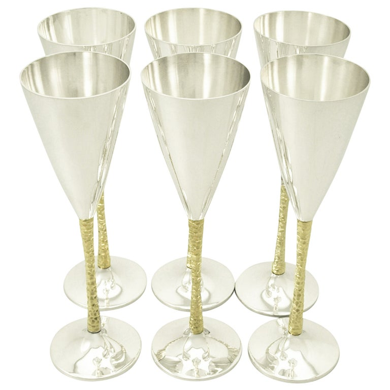 Sterling Silver Champagne Flutes Set of Six For Sale