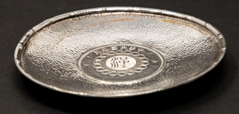 Metalwork Sterling Silver Chinese Coin Dish For Sale