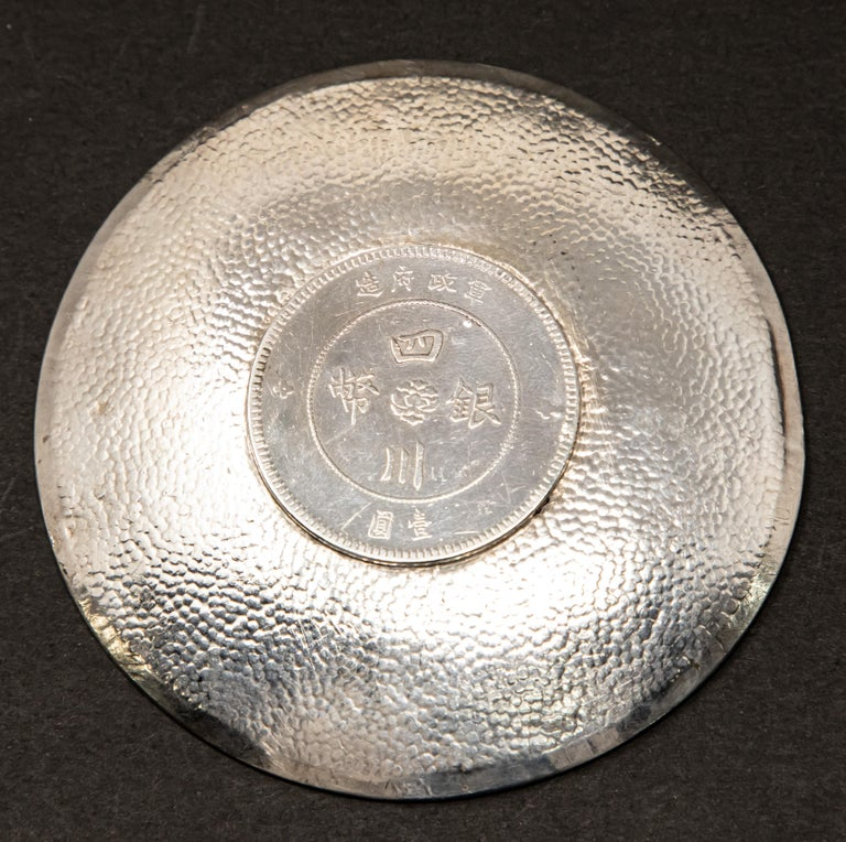 20th Century Sterling Silver Chinese Coin Dish For Sale