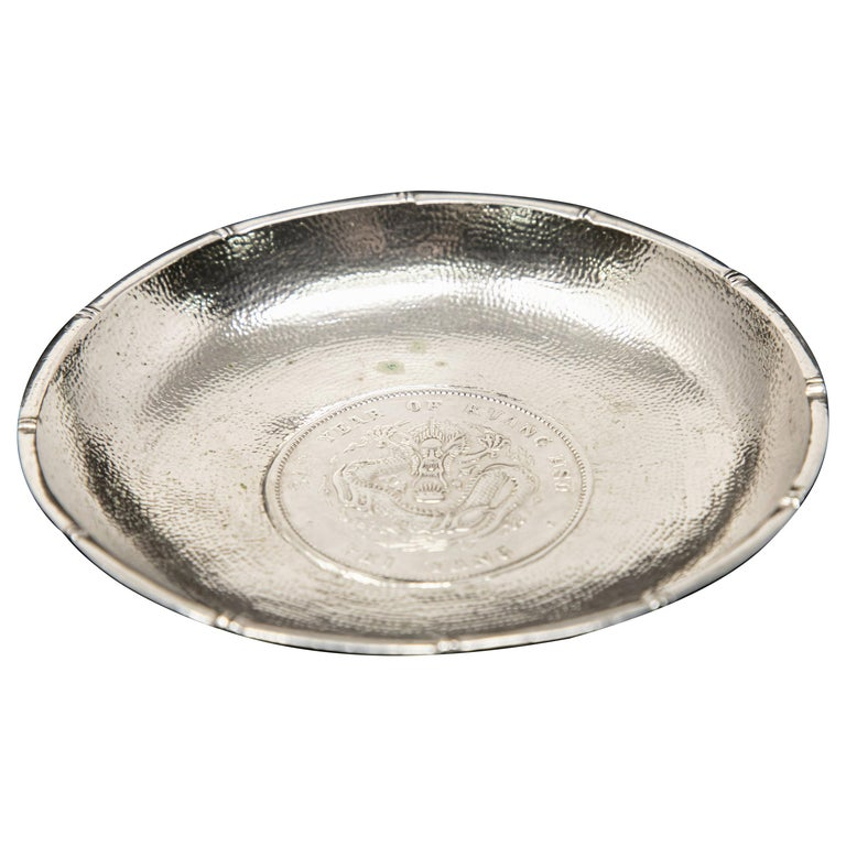 Sterling Silver Chinese Coin Dish For Sale