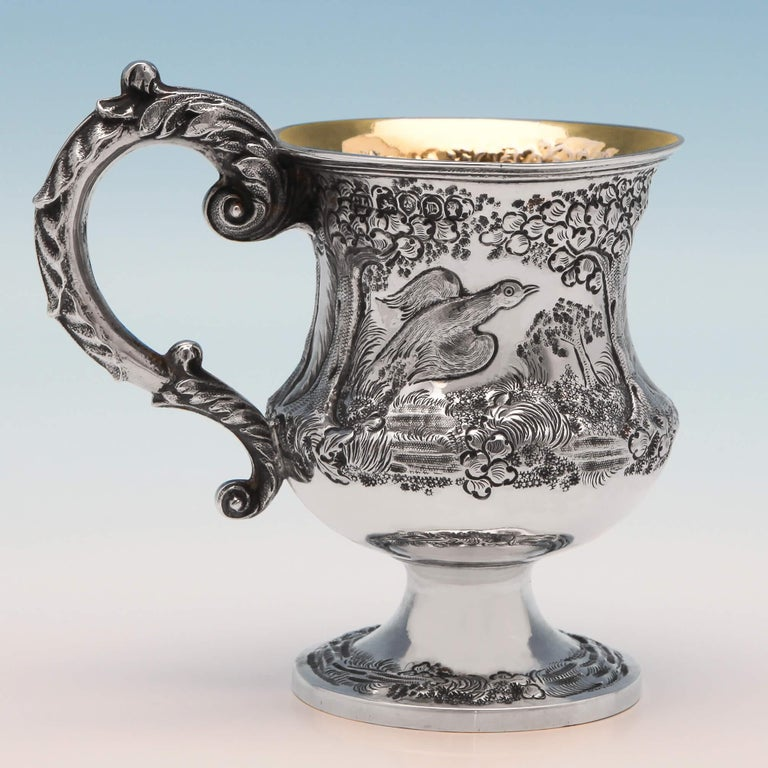 English Victorian Antique Sterling Silver Christening Mug with Pheasant Scene From 1839 For Sale