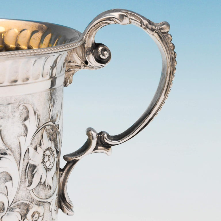 English Victorian Chased Sterling Silver Christening Mug from 1867