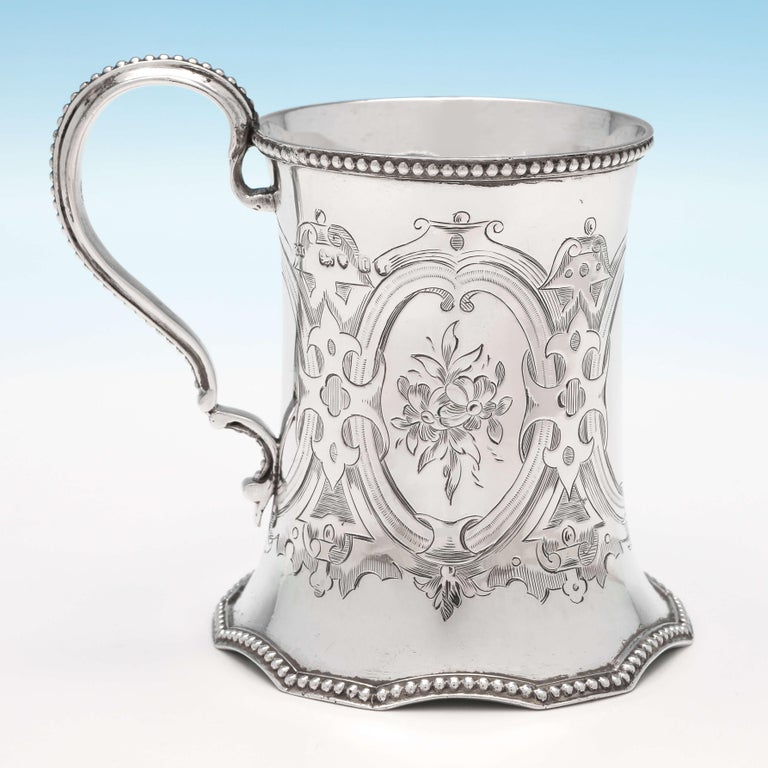 English 19th Century Victorian Sterling Silver Christening Mug by Robert Hennell II 1858 For Sale