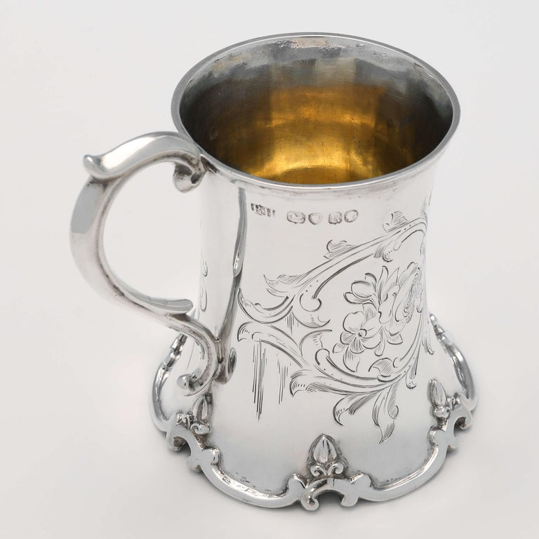 English Victorian Antique Sterling Silver Christening Mug Hallmarked in 1852 For Sale