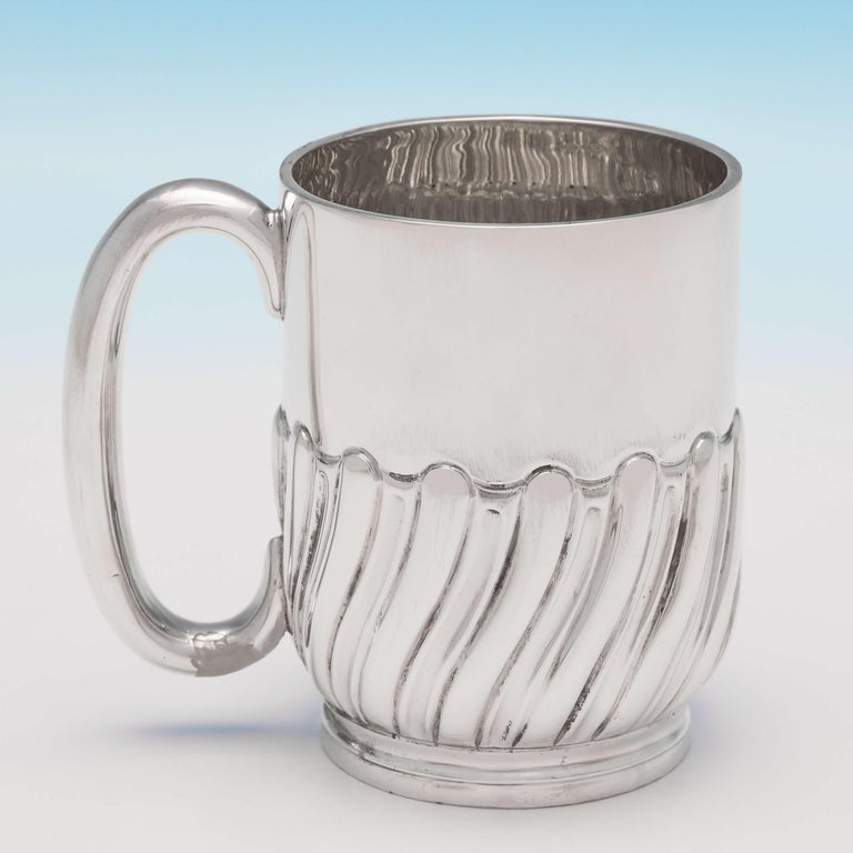English Victorian Antique Sterling Silver Christening Mug by Jackson & Fullerton, 1898 For Sale