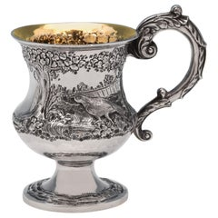 Victorian Antique Sterling Silver Christening Mug with Pheasant Scene From 1839