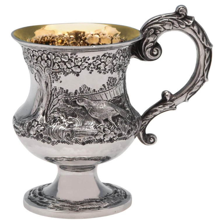 Victorian Antique Sterling Silver Christening Mug with Pheasant Scene From 1839 For Sale