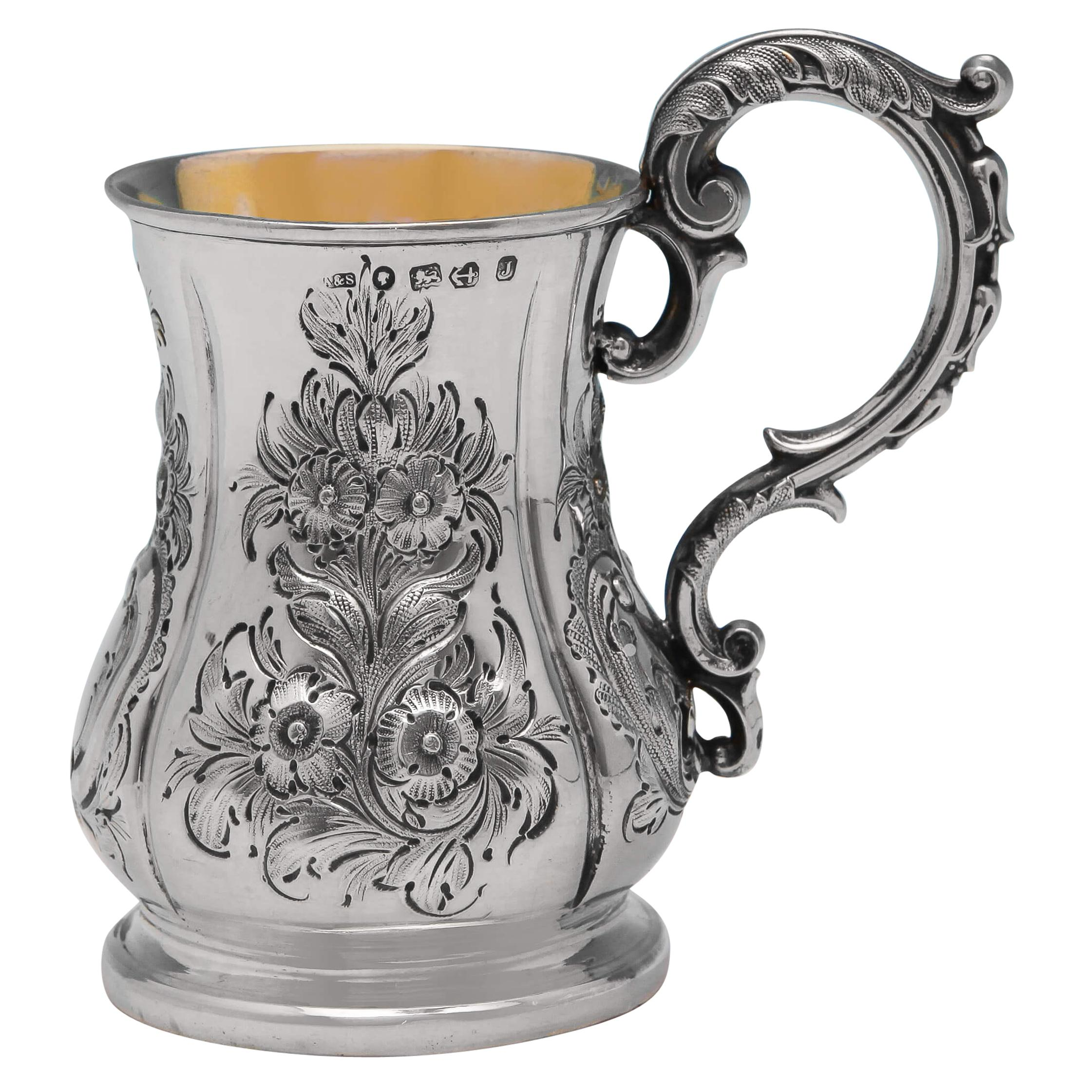 Chased Victorian Antique Sterling Silver Christening Mug by Aston & Sons in 1858