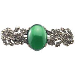 Sterling Silver Chrysoprase Marcasite Flower Brooch/Pin