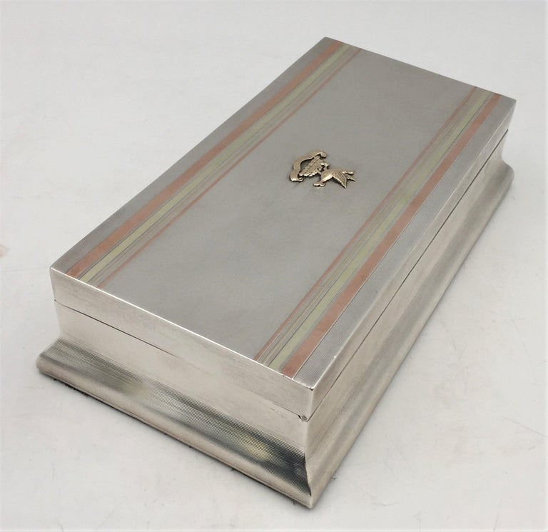 English Sterling Silver Cigar Box by William F. Wright in Art Deco Style For Sale